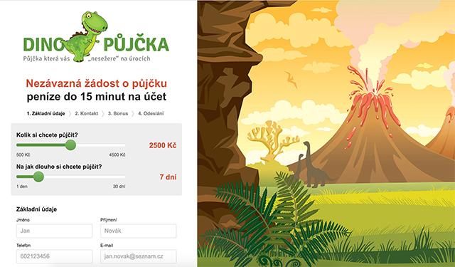 Ukázka webových stránek www.dinopujcka.cz
