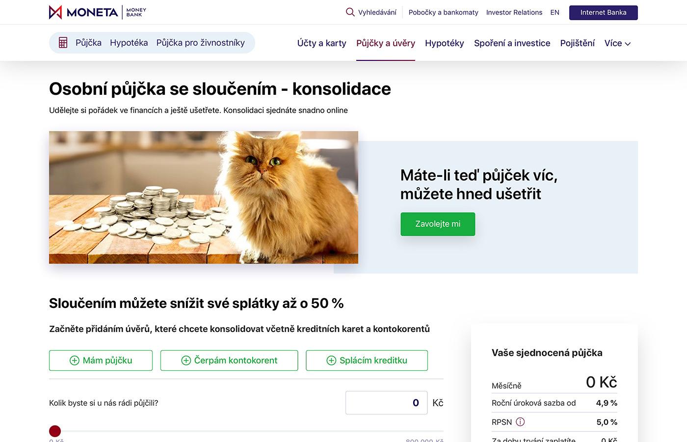 Webové stránky https://www.moneta.cz/pujcky-a-uvery/slouceni-pujcek
