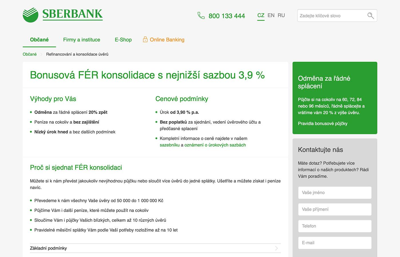 Webové stránky https://www.sberbankcz.cz/obcane/refinancovani-a-konsolidace-uveru