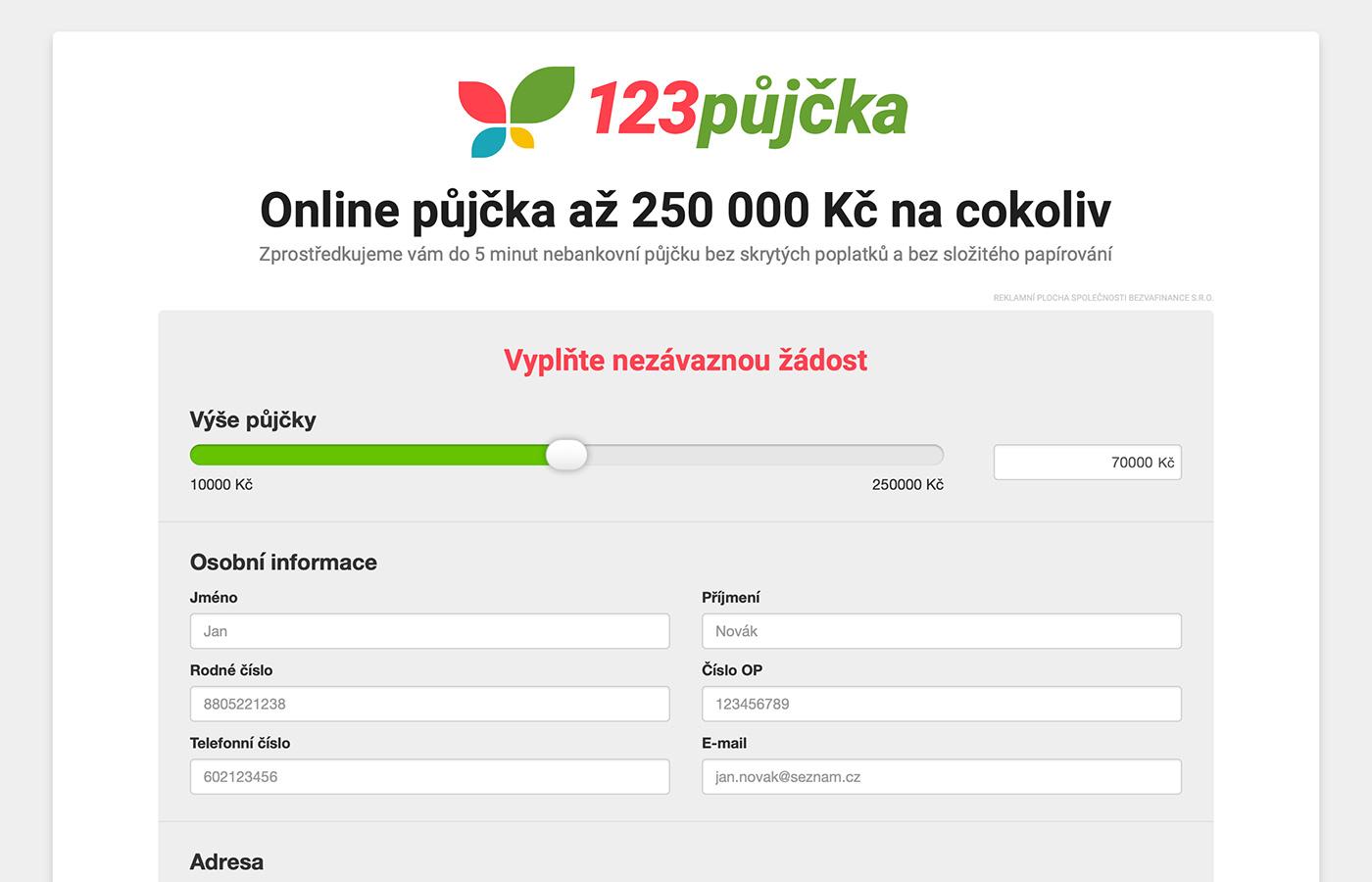 Webové stránky https://www.123pujcka.cz