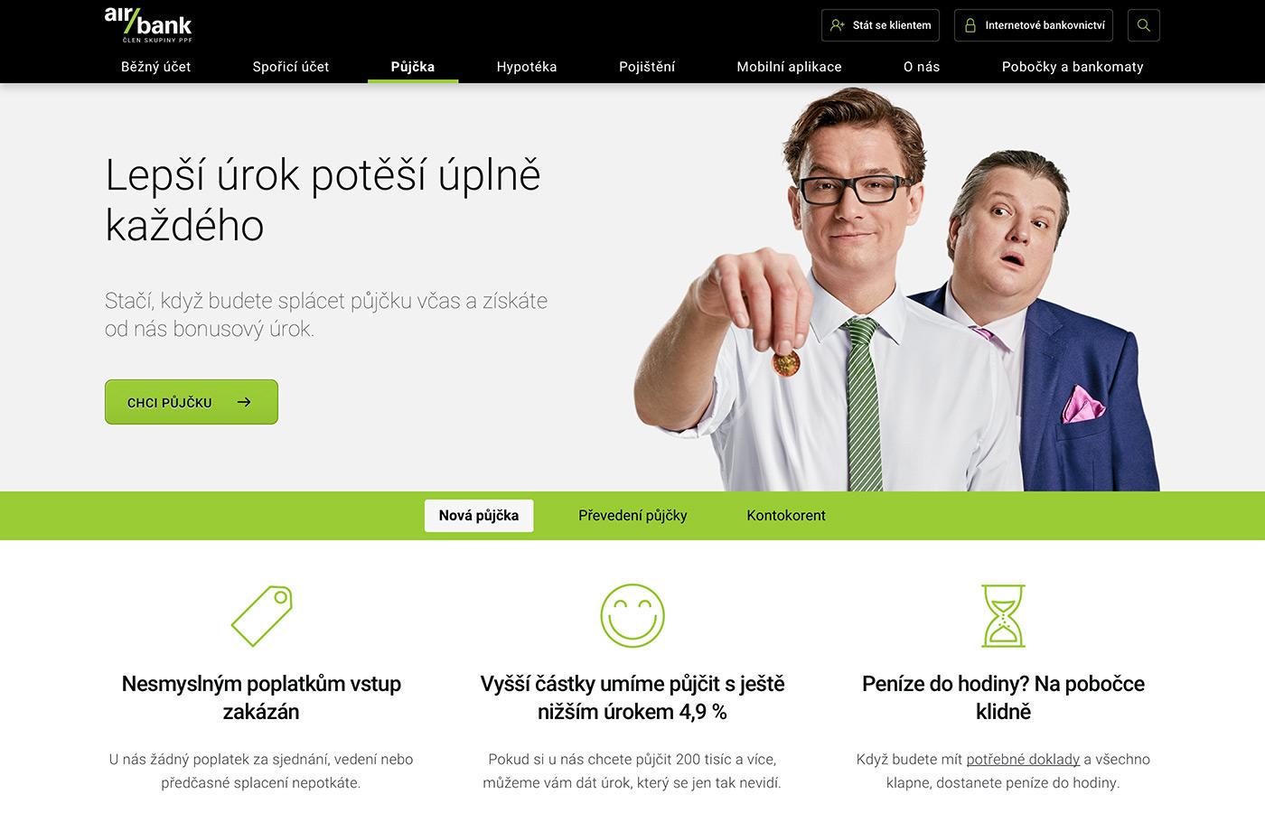 Webové stránky https://www.airbank.cz/produkty/pujcka/