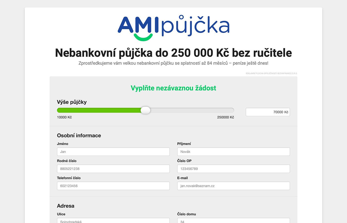 Webové stránky https://www.amipujcka.cz