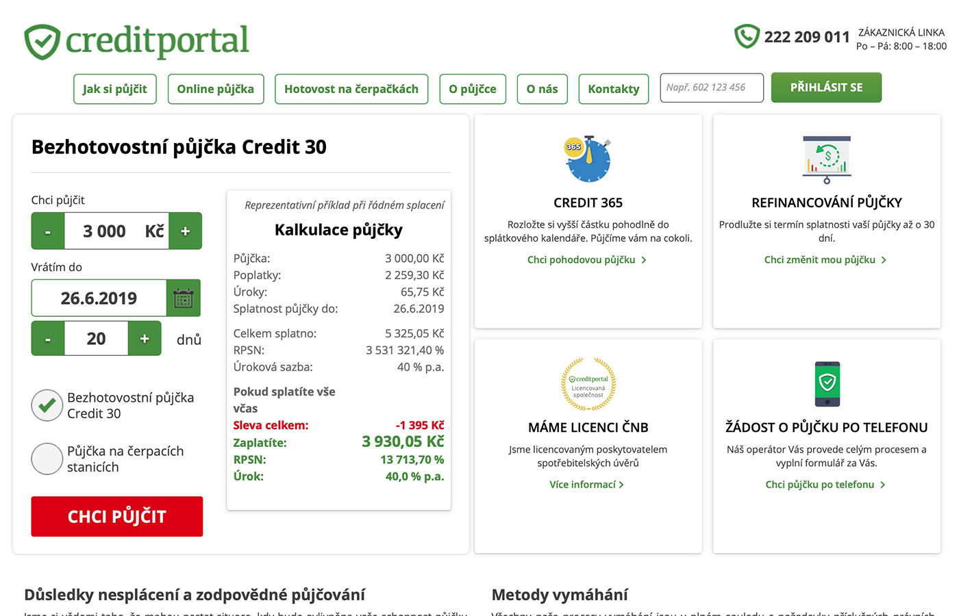 Webové stránky https://www.creditportal.cz/cs/credit365/