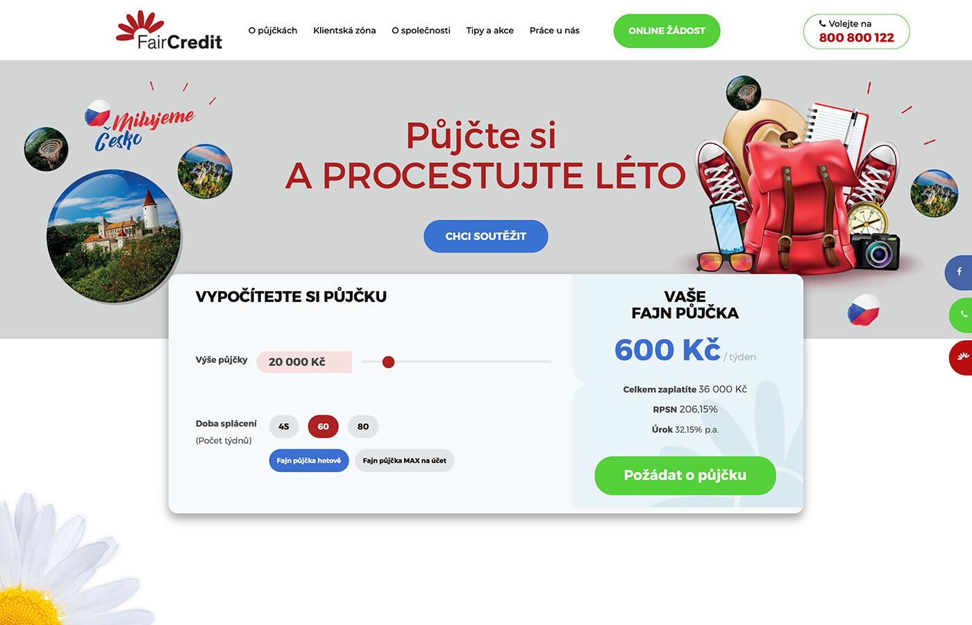 Webové stránky https://www.faircredit.cz