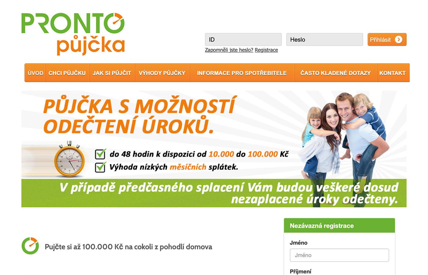 Webové stránky https://prontopujcka.cz