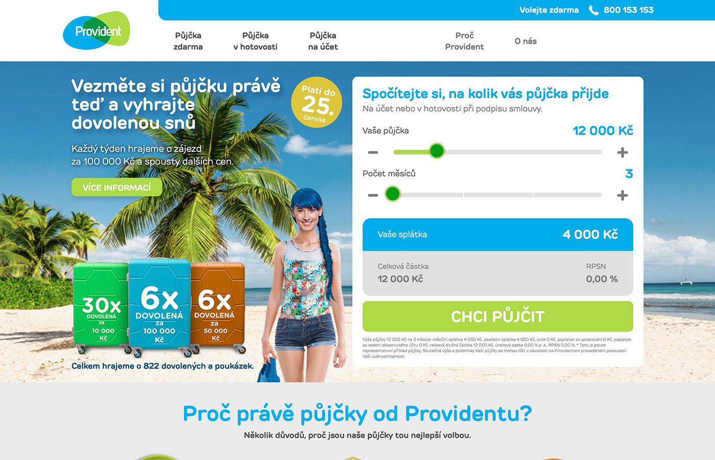 Webové stránky https://www.provident.cz/pujcky/pujcka-zdarma