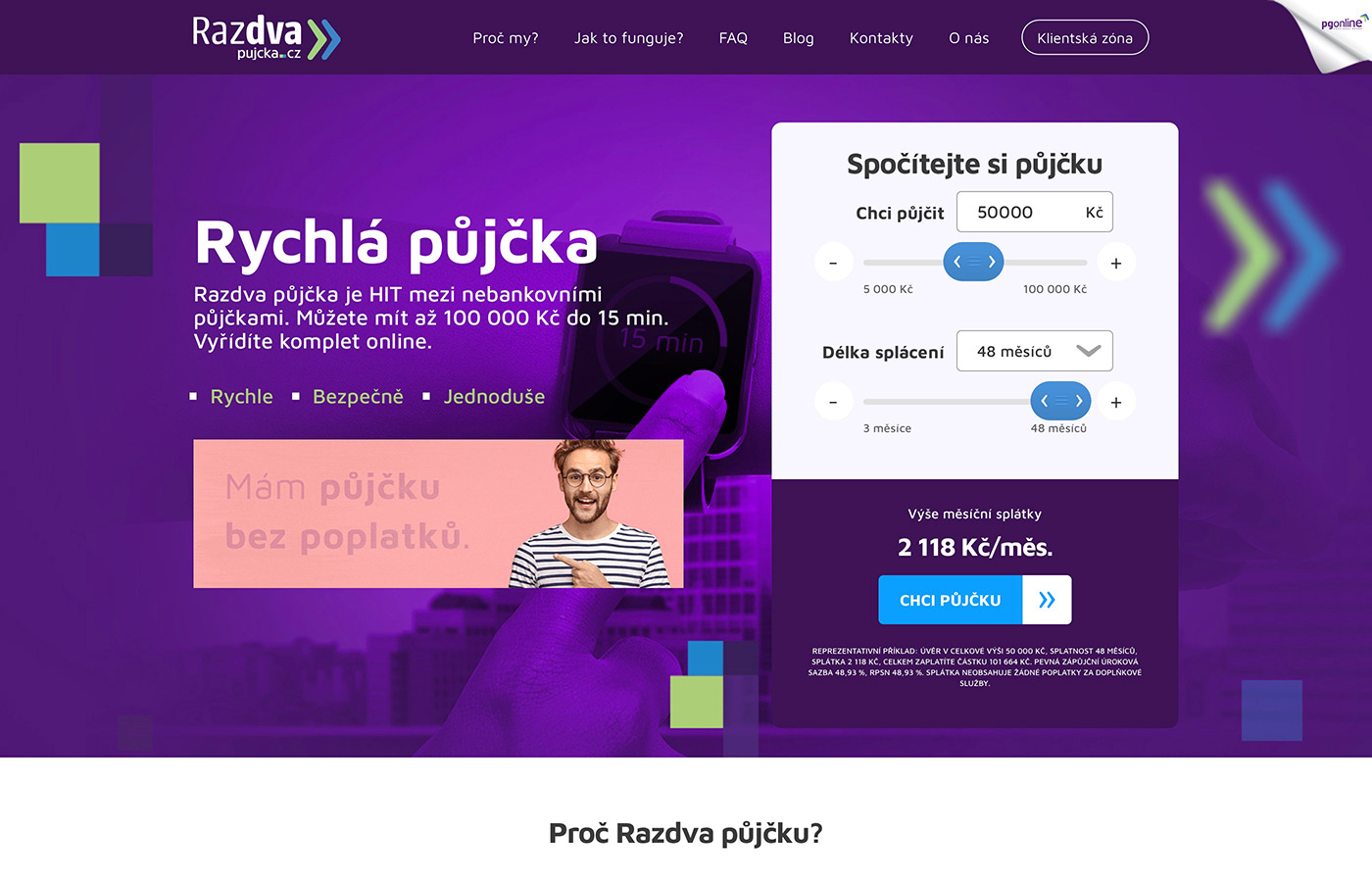 Webové stránky https://www.razdvapujcka.cz