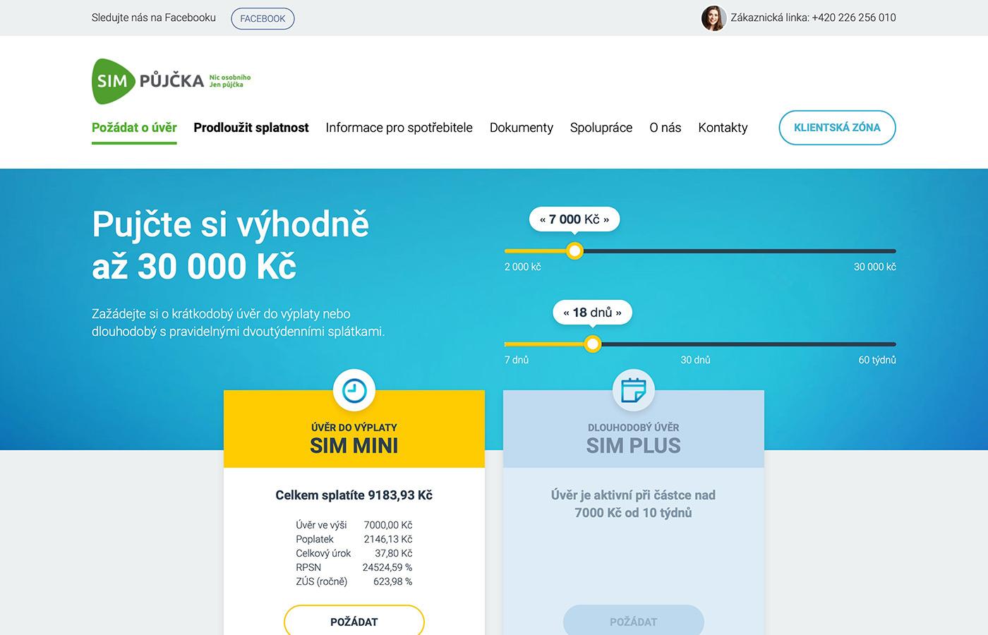 Webové stránky https://www.simpujcka.cz