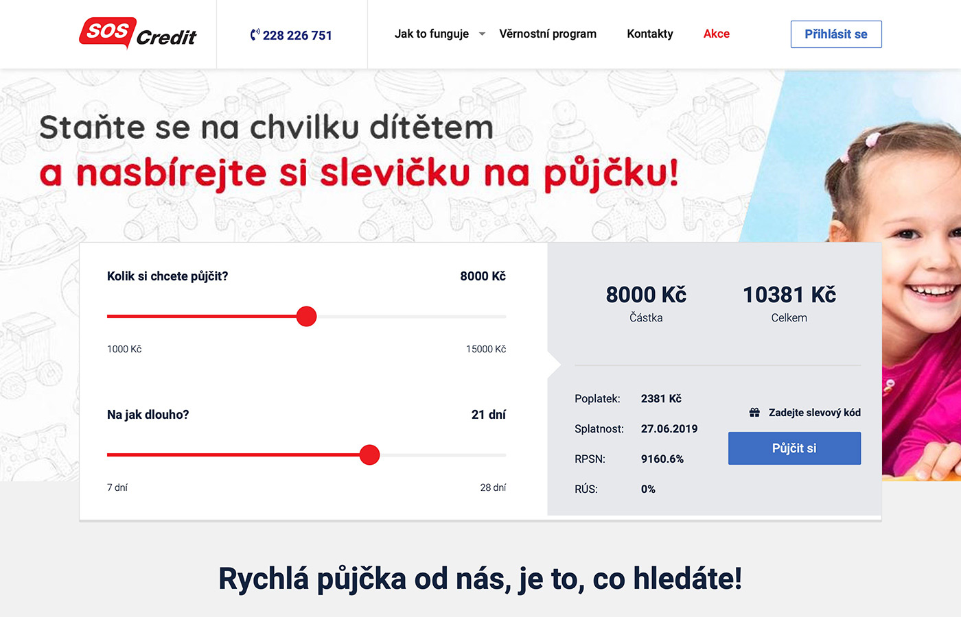 Webové stránky https://www.soscredit.cz