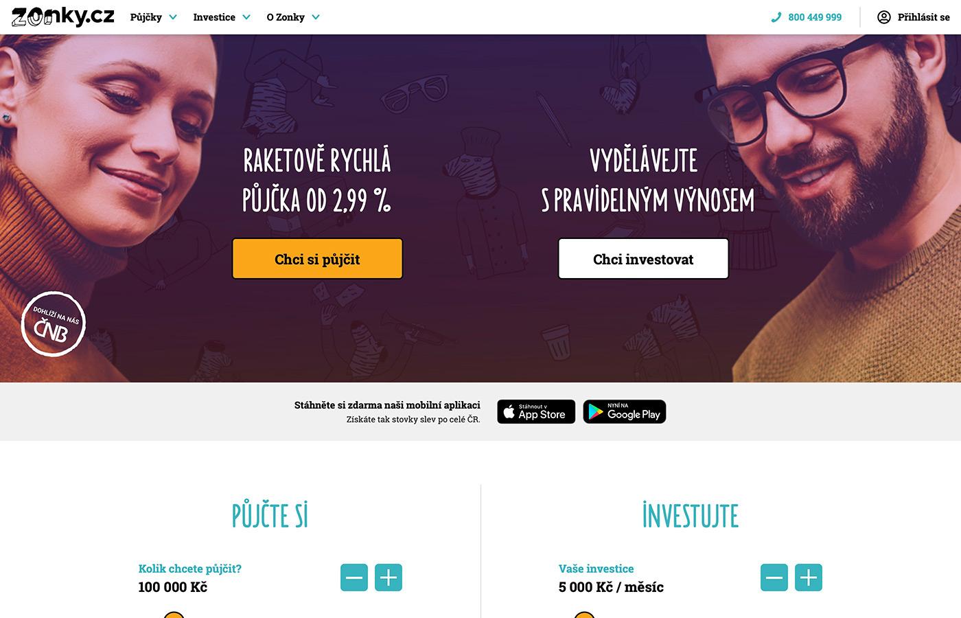 Webové stránky https://www.zonky.cz