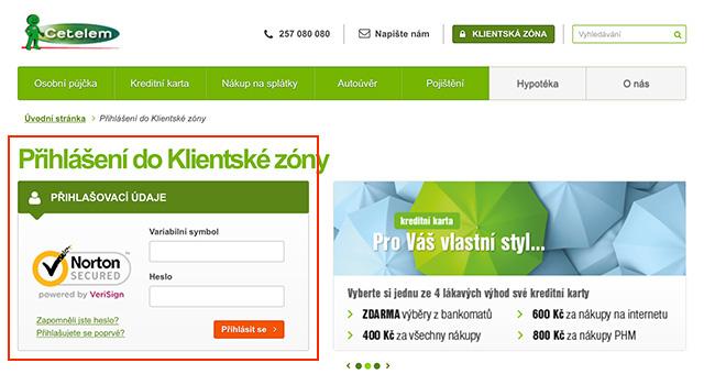 Klientská zóna Cetelem.cz