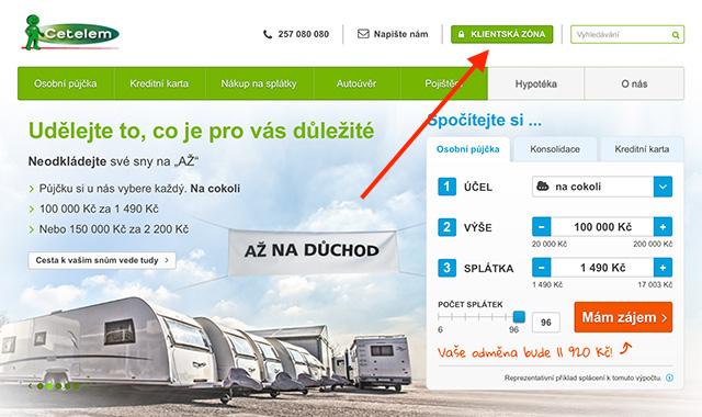 Přihlášení do klientské zóny na webu www.cetelem.cz